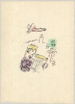 1974 Marc Chagall 'King David (pink)' Modernism Neutral France Lithograph
