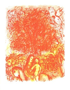 1976 Marc Chagall 'Sainte Famille (no text)' Modernism Red,Orange,Yellow USA Lit