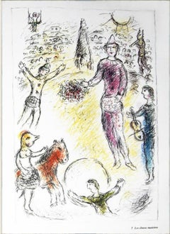 1981 Marc Chagall 'Les Clowns Musiciens' Modernism Multicolor,Pastel,Pink,Yellow