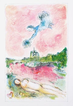 1981 Marc Chagall 'Pink Opera (No text)' Modernism Multicolor,Pink,Green France