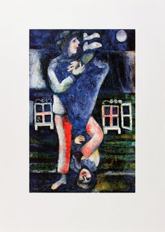 1986 Marc Chagall 'La Promenade' Modernism Blue,White,Red,Green Germany Offset