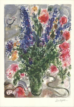 1988 Marc Chagall 'Les Lupins Bleus (after)' Modernism Multicolor,Green France O