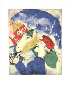 1991 Marc Chagall 'Peasant Life (La Vie Paysanne)' Modernism Multicolor,Blue USA