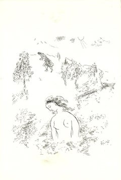 1992 Marc Chagall 'Summer in the Country' Modernism Black & White Israel Serigra