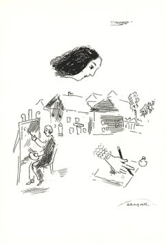 1992 Marc Chagall 'The Heritage' Modernism Black & White Israel Serigraph