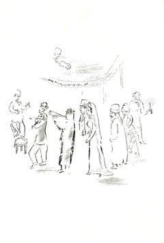 1999 Marc Chagall 'Wedding Procession' Modernism Black & White Israel Serigraph