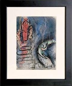 Ahaseurus banishes Vashti, Lithograph by Marc Chagall 1960