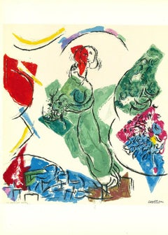 Behind the Mirror - Original Lithograph by Marc Chagall - 1964