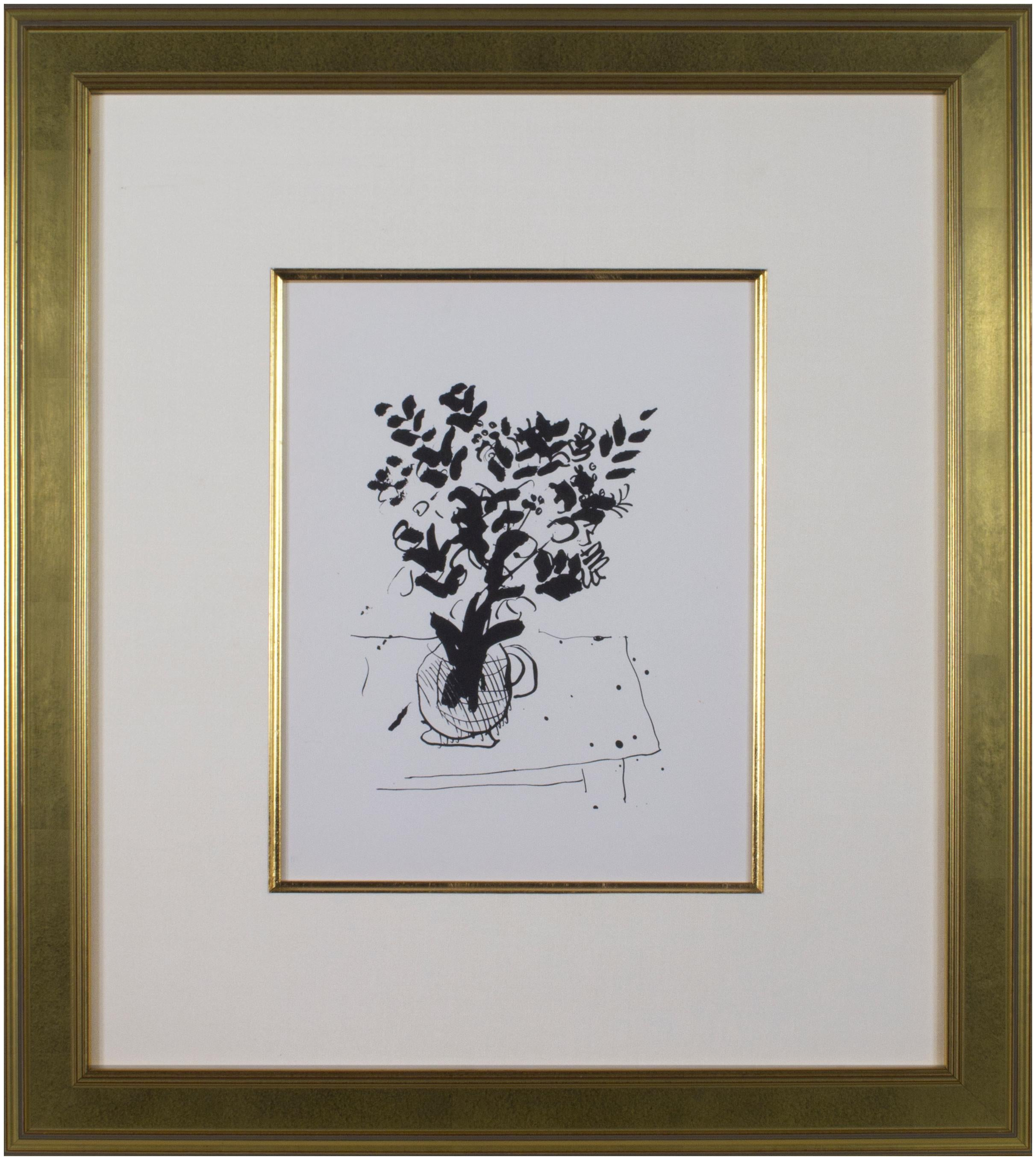 Black and White Bouquet in Vase on Table, Marc Chagall lithograph