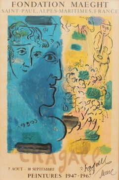'Blue Profile' Exhibition Poster, Marc Chagall with Original Signature