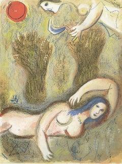 """""""Booz se réveille et voit Ruth à ses Pieds,"""" Original Lithograph by Chagall"""