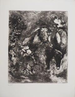 Bulls and a Frog - Original Etching - Ref. Sorlier #106