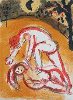 Cain and Abel, Color Lithograph Print and Black and White Verso