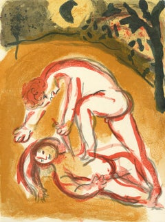 """Caïn et Abel (Cain and Abel), M 238/261,"" Original Color Lithograph by Chagall"