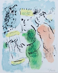 """Carte de Voeux (New Year Greeting Card),"" Original Lithograph by Marc Chagall"