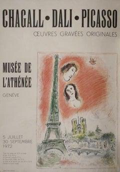 Chagall, Dali, and Picasso Poster- Musée de L'Athénée, 1972