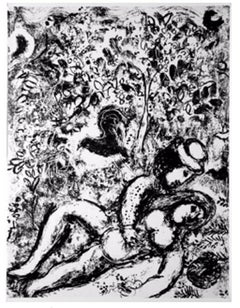 Couple Beside Tree from Chagall Lithographs I