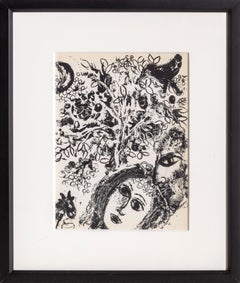 Couple in Front of Tree, Framed Lithograph by Marc Chagall 1960