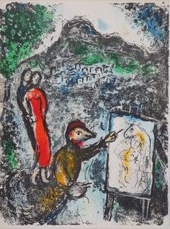 Couple Near Vence - Original stone lithograph (Mourlot #646) - 1972