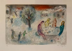 Daphnis et Chloe: The Meal at Dryas' House - Chagall, Print, Lithograph, Modern