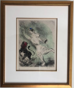 """""""David and the Lion"""" original etching with watercolor by Marc Chagall"""
