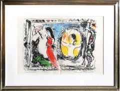 Femme avec Parapluie, Framed Lithograph by Marc Chagall 1964