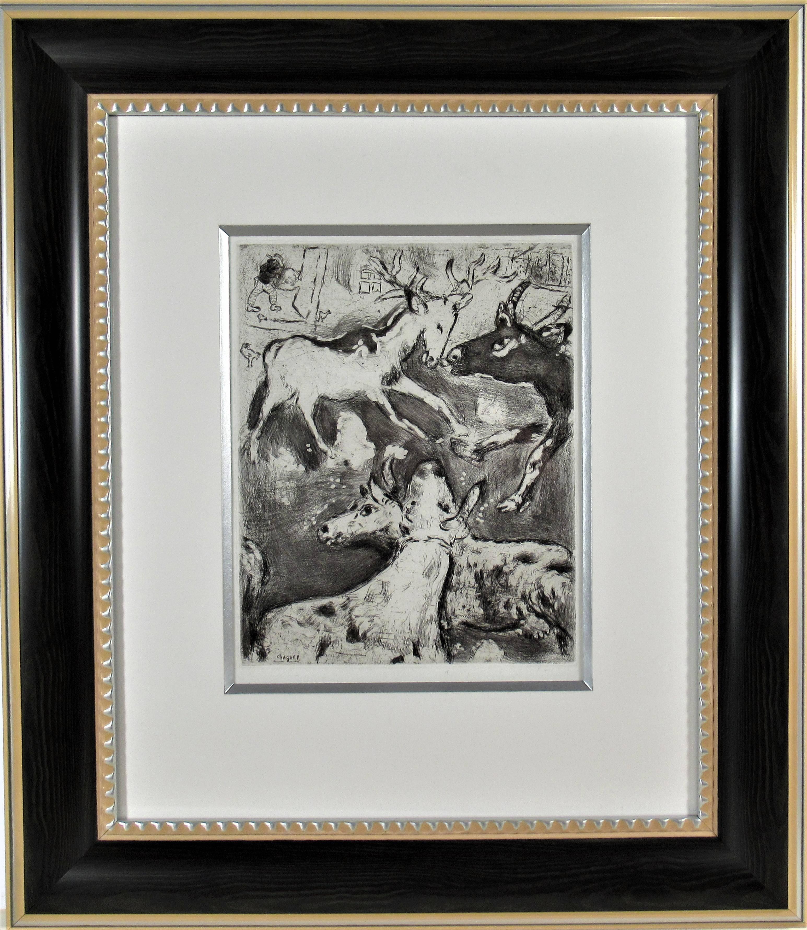 """From the suite """"Les Fables De La Fontaine"""" original etching"""