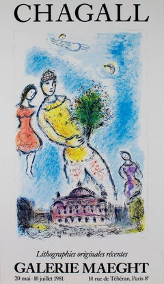 """Galerie Maeght,"" Offset Lithograph Poster After a Painting by Marc Chagall"