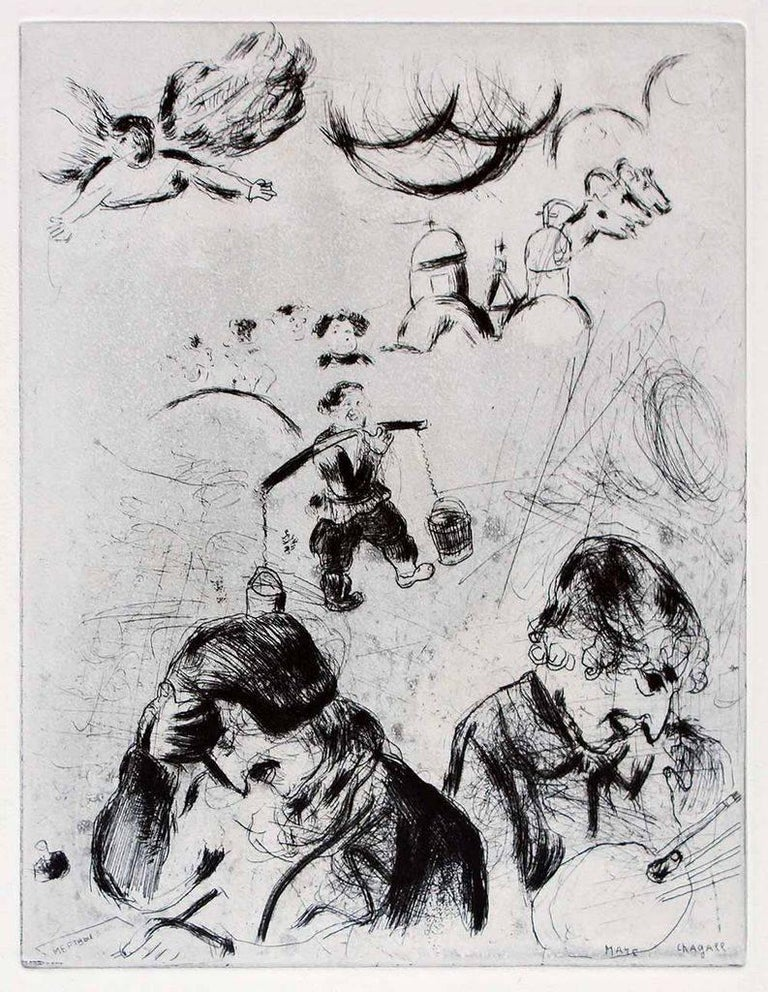 "Marc Chagall Abstract Print - Gogol et Chagall - From the series ""Les Ames Mortes"""