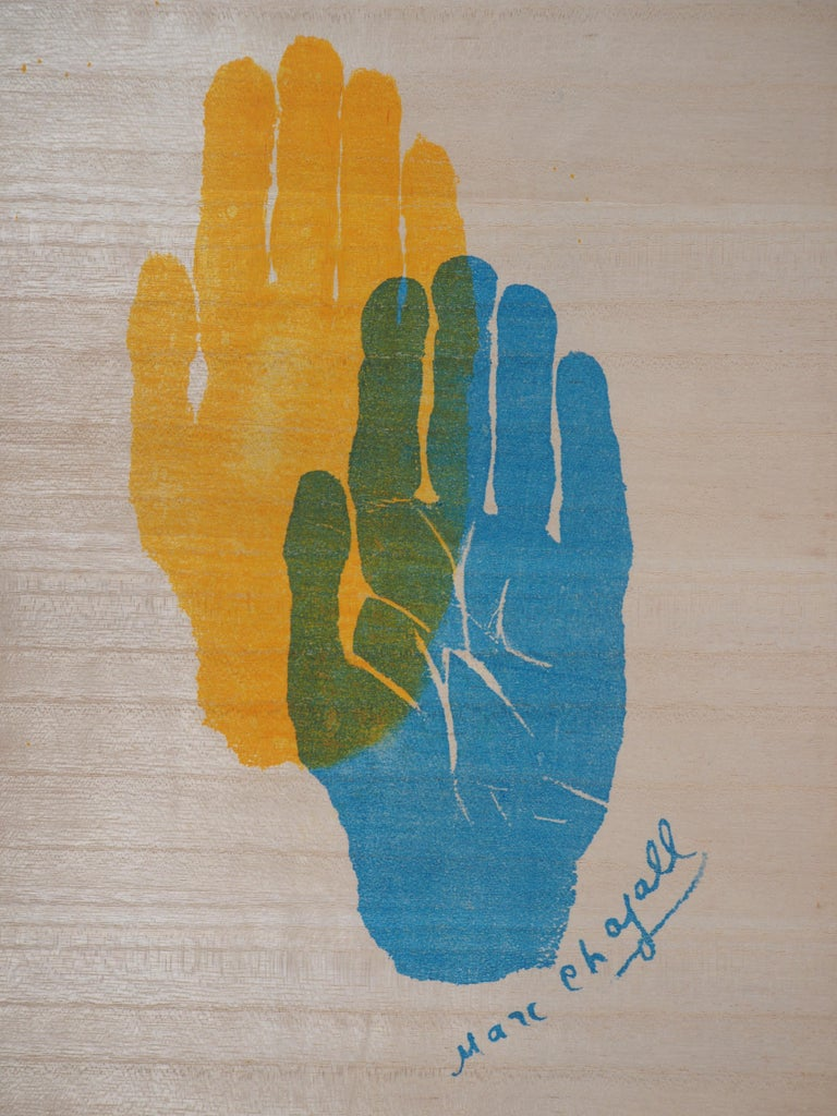 Marc CHAGALL Hand of the Artist (c.1962)  Original lithograph printed signature (signed in the stone) On paper imitating wood 37 x 25.5 cm (c. 15 x 10