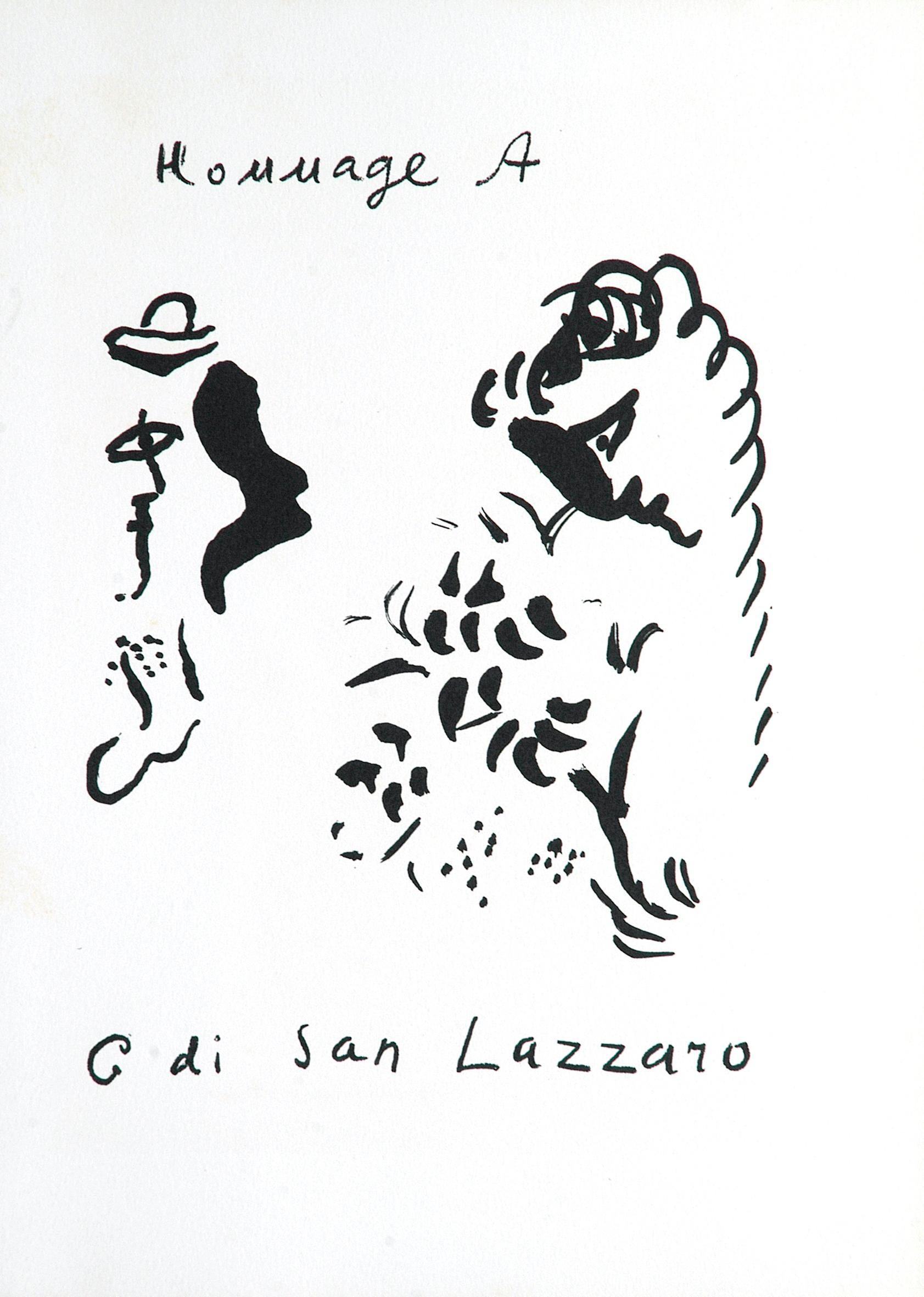 Hommage à San Lazzaro - Original Lithograph by M. Chagall - 1975