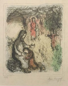 Jacob's Blessing - Original Lithograph by Marc Chagall - 1979