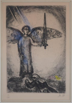 Joshua and The Angel - Original etching with watercolor, Handsigned /100