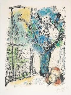 Le bouquet bleu - 20th Century, Marc Chagall, Blue, Flowers, Still life