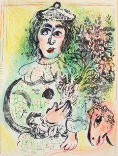 Le Clown Fleuré -  Lithograph by Marc Chagall - 1963