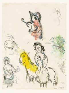 Le coq violoniste - 20th Century, Marc Chagall, Figurative Print, Goat, Monotype