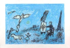 Le Peintre et son Double - Original Lithograph by Marc Chagall - 1981