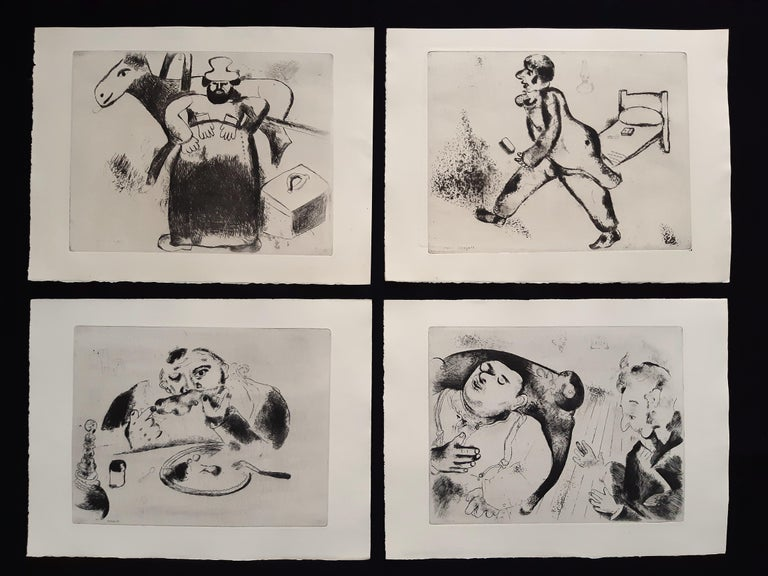 Les Ames mortes (by N. Gogol) is a very rare suite of etchings realized by Marc Chagall (1887-1985).  Complete set of 96 etchings hors-texte and 11 etched vignettes en-texte for the heading chapters. Realized on Arches wove paper watermarked Les