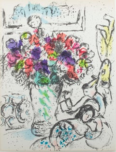 """Les Anémones (The Anemones), M 730"" Original Color Lithograph by Marc Chagall"