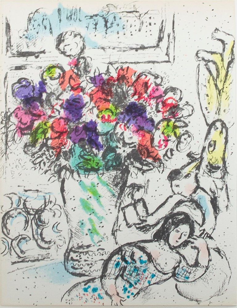 """""""Les Anémones (The Anemones), M 730"""" is an original color lithograph by Marc Chagall. Frontispiece for """"Chagall Lithographe IV,"""" 1974. Text on verso reads """"This work could not have been brought to completion without the invaluable help of Madame"""