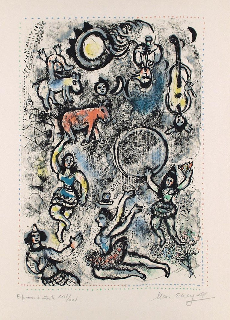 """""""Les saltimbanques"""" by Marc Chagall is numbered and signed Epreuve d'artiste' and numbered XXIV/XXV, and is apart from the edition of 50. This lithograph from 1969. Catalogue raissoné Mourlot 591."""