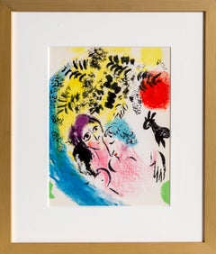 Lovers with Red Sun, Framed Lithograph by Marc Chagall 1960