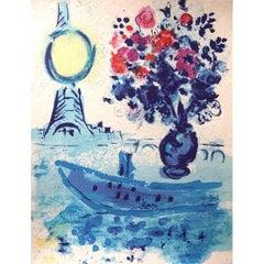 Marc Chagall - Bateau Mouche au bouquet - Original Lithograph