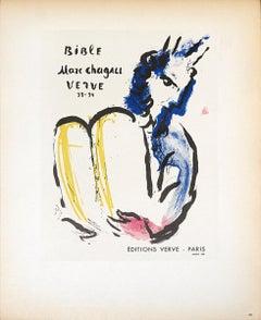 "Marc Chagall-Bible Verve-12.5"" x 9.25""-Lithograph-1959-Modernism-White"