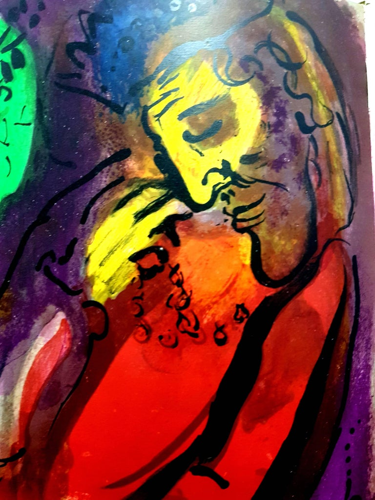 Marc Chagall - Colorful Bible - Original Lithograph - Brown Nude Print by Marc Chagall