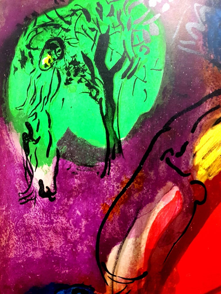 Marc Chagall, Original Lithograph depicting an instant of the Bible. Technique:Original lithograph in colours Year:1956 Sizes:35,5 x 26 cm / 14