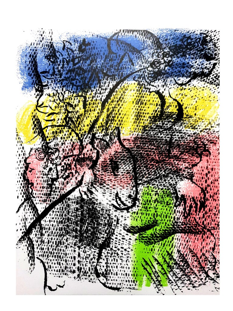Marc Chagall - Couple With a Goat - Original Lithograph - Gray Figurative Print by Marc Chagall