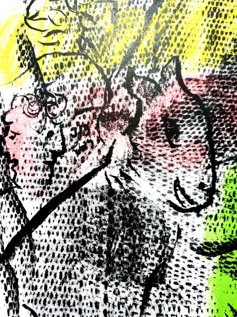 Marc Chagall Original Lithograph Title:  Couple With a Goat 1970 Dimensions: 32 x 24 cm Condition : Excellent Reference: Mourlot #608  Marc Chagall  (born in 1887)  Marc Chagall was born in Belarus in 1887 and developed an early interest