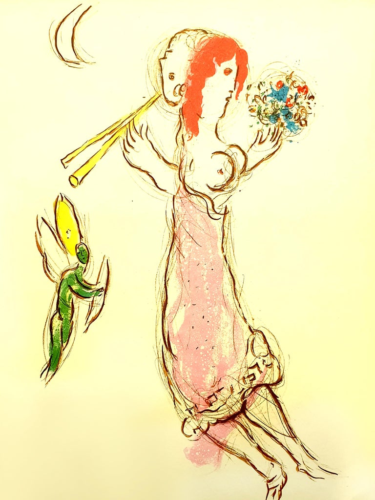 Marc Chagall - Daphnis and Chloé - Original Lithograph - White Print by Marc Chagall