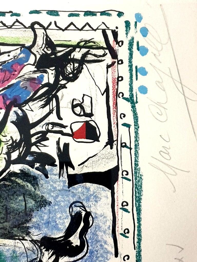 Marc Chagall - Farmer with a Clock - Original Lithograph 4